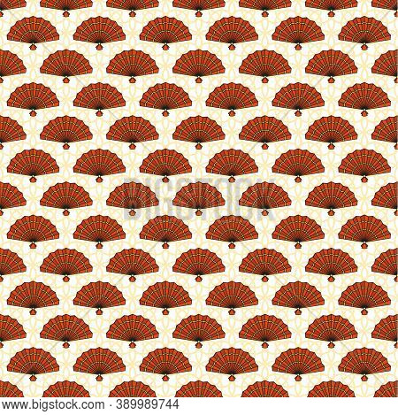 Chinese Pattern With Red Hand Fan. Oriental Decorations. Asia And Japan Culture. Asia Culture Symbol