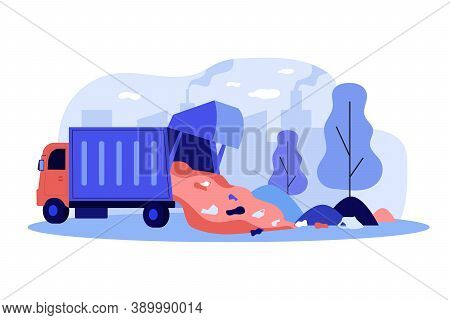 Truck Unloading Garbage In Park Vector Illustration Environment, Vehicle, Litter. Pollution Concept