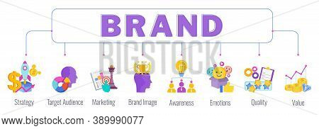 Brand Word Lettering Typography With Color Icons. Strategy, Management And Marketing. Successful Pos