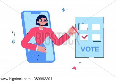 Online Voting. The Girl Votes For The Candidate. A Woman Votes Through The Phone.