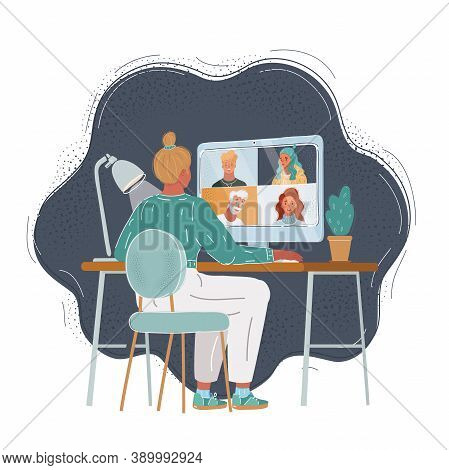 Vector Illustration Of Back View Woman At Desk Chat With Her Team. Make Consultation Or Take Converc