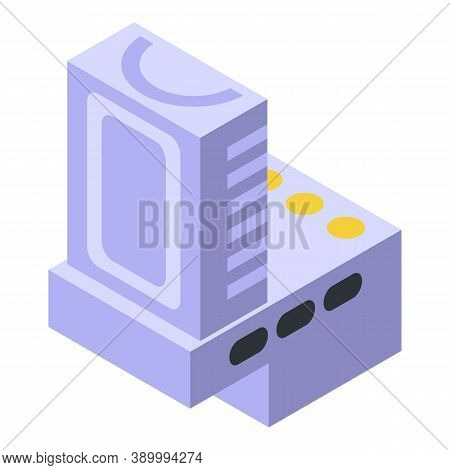 Component Capacitor Icon. Isometric Of Component Capacitor Vector Icon For Web Design Isolated On Wh
