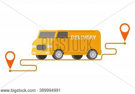 Delivery Truck Point To Point.vector Car Illustration.