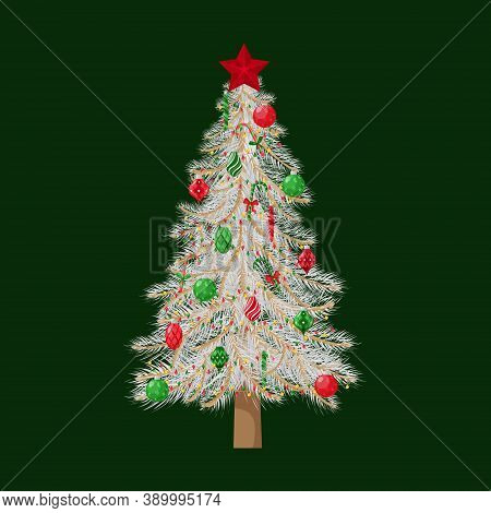 Christmas Tree With White Branches, Decorated With Christmas Tree Toys, Balls And A Star. For Greeti