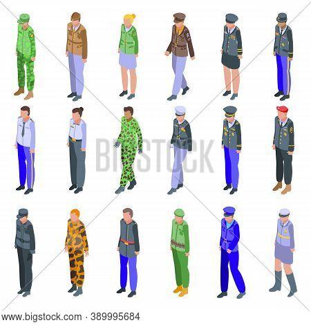 Military Uniform Icons Set. Isometric Set Of Military Uniform Vector Icons For Web Design Isolated O