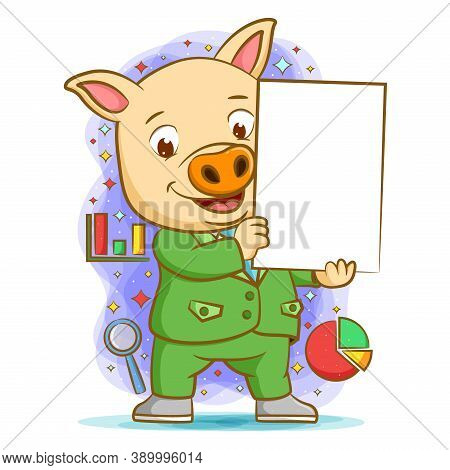 The Pig Using The Green Suite Holding The Blank Board For Presentation