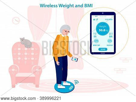 Senior Woman Measuring Her Weight And Bmi On A Wireless Weighing Machine. Mobile Application Syncs W