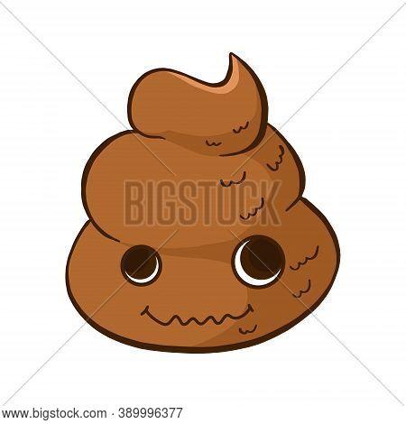 Vector Crazy Poop Emoji. Funny And Cute Poo Emoticon With Big Eyes.