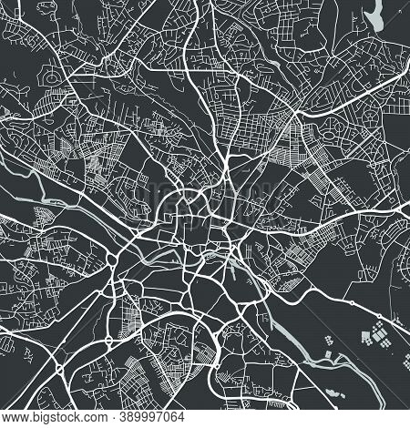 Urban City Map Of Leeds. Vector Illustration, Leeds Map Grayscale Art Poster. Street Map Image With