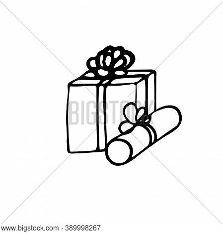 Gifts. 2 Subjects. Drawn By Hand. Doodles. Black And White. Element Of Festive Decor. Winter Paraphe