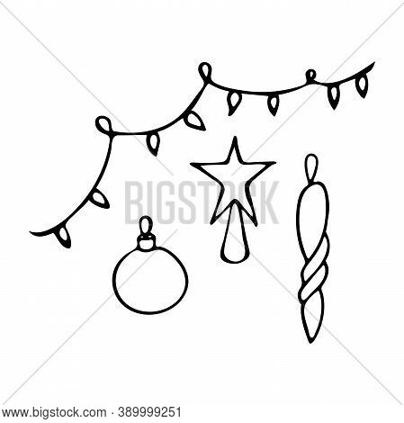 Christmas Tree Decoration. 4 Subjects. Drawn By Hand. Doodles. Black And White. Element Of Festive D