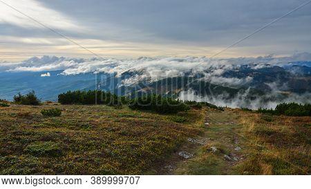 Small Clouds Rolling Over A Mountain Ridge, Low Tatras, Nizke Tatry, Slovakia.