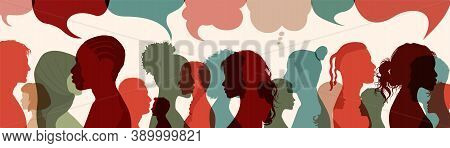 Crowd.silhouette Heads Faces To The Side Of Group Of International People Talking.diversity People.s