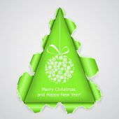 Abstract Christmas tree made �¢??�¢??of torn paper. Vector eps10 illustration poster