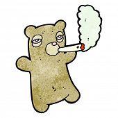 cartoon bear smoking marijuana poster