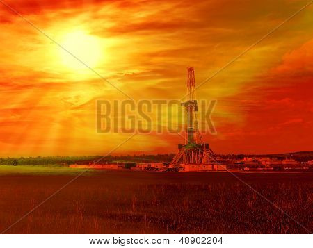 Shale gas drilling with sunrise in the province of Lublin Poland. poster