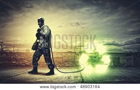 Stalker in gas mask