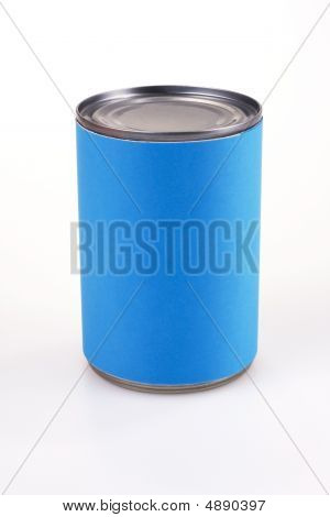 Close Up Of A Blue Tin Can