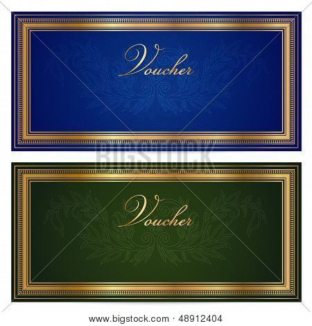 Gift certificate, Vouche, Coupon template with floral, scroll pattern