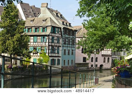 Half Of Colorful Wooden Houses Along The Canals Of Strasbourg