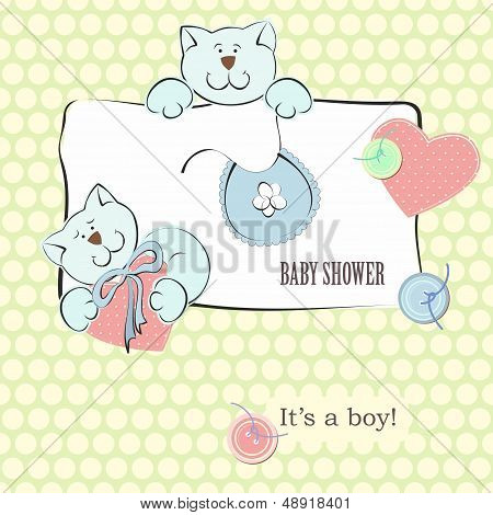 Baby Shower Invitation With Polka Dot Background