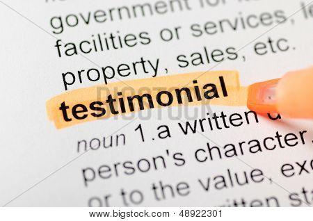 Orange marker on testimonial word