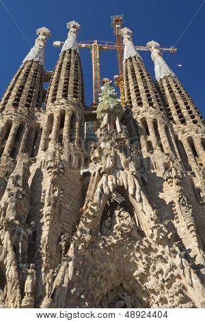 Sagrada Familia Is Still Under Construction (barcelona, Spain)