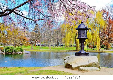 Lagoon at Boston Public Garden in Boston, Massachusetts, USA.