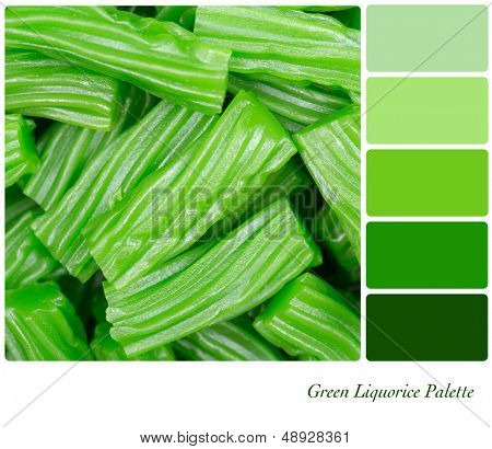 A background of cut pieces of green liquorice in a colour palette with complimentary colour swatches