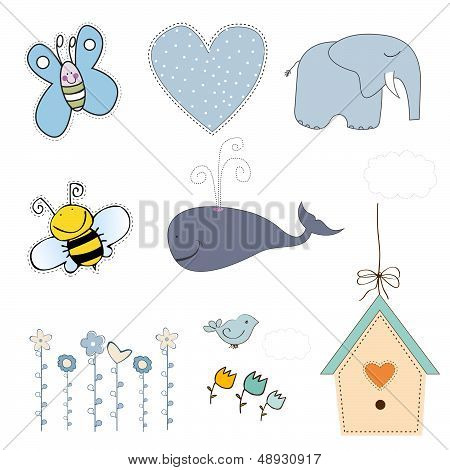 new baby boy items set isolated on white background vector illustration poster