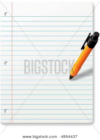 Ball Point Pen Writing On Notebook Paper Background