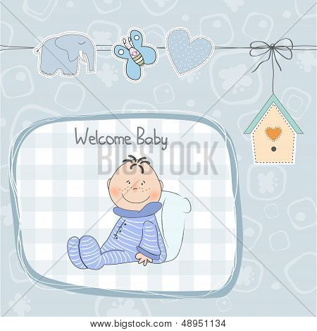 New Baby Announcement Card With Little Baby