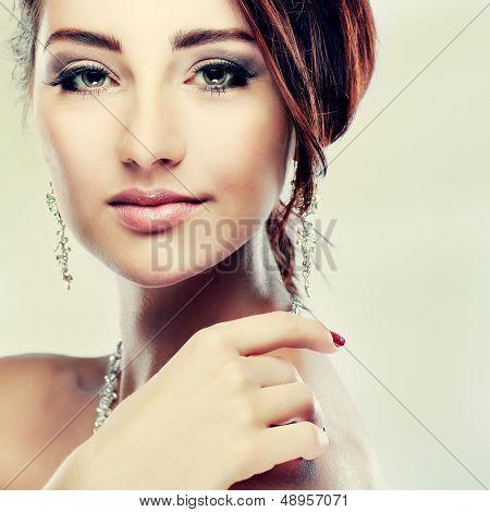 A portrait of elegant girl is in fashion style. Wedding decoration.