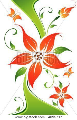 Abstract Vector Flower Background mit Schmetterling