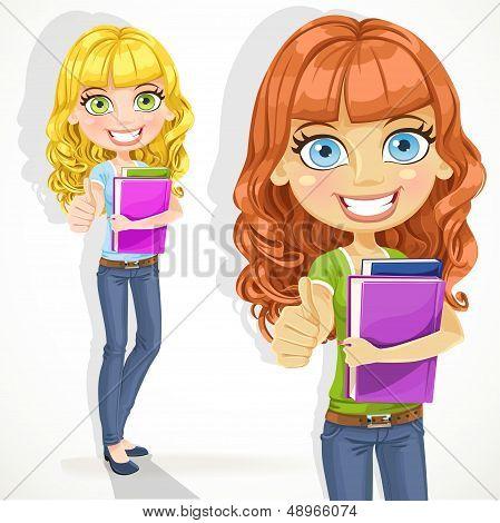 Cute teen girl with wavy hair shows OK