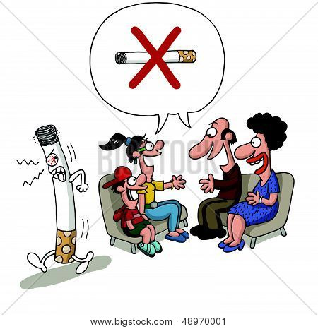 Family meeting against smoking