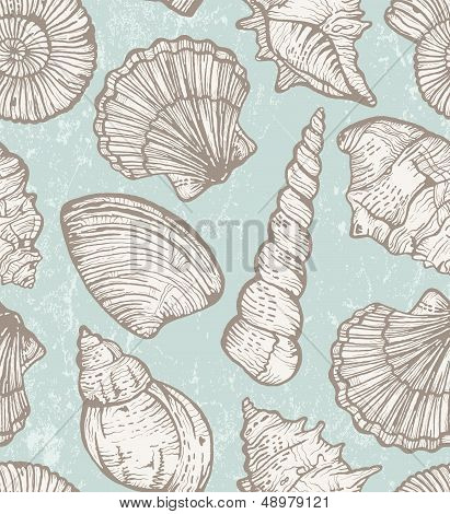 Vector pattern with sea shells