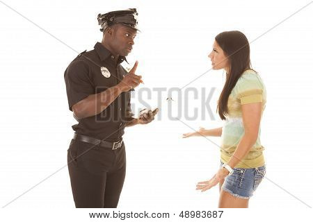 Policeman Writing Ticket To Woman