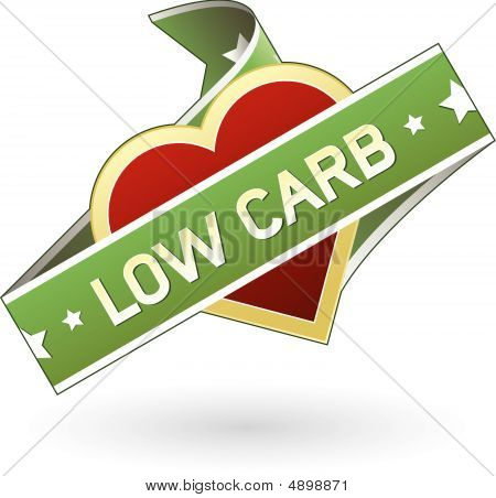 Low carb food label sticker for use on print materials packaging or websites poster