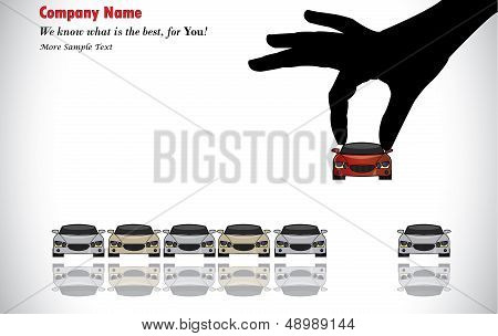 Care Sale Or Car Key Concept Illustration : A Hand Silhouette Choosing Red Colored Car
