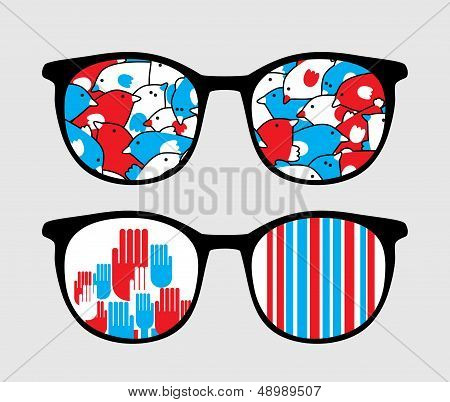 Retro sunglasses with patriotic reflection in it. Vector illustration of accessory - eyeglasses isolated. poster