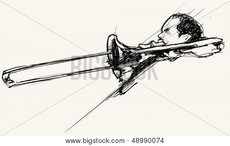 Vector illustration of a trombone player