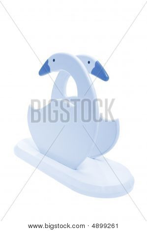Wooden Geese Ornament in Blue Tone on Plain Background poster