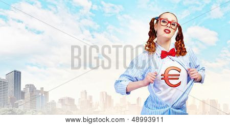 Young woman acting like super hero with euro sign on chest poster