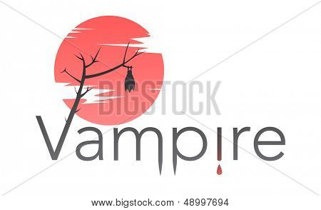 Vector vampire text with bloody moon, and drop of blood