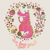 Romantic floral card with cute dragon in bright colors. Funny childish dragon in flowers and bees in vector.  poster