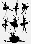 A collection of ballet dancers silhouettes vector illustration isolated on white background poster