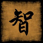 Wisdom Chinese Calligraphy Symbol Grunge Background Set poster