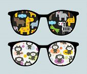 Retro sunglasses with cartoon animals reflection in it. Vector illustration of accessory - eyeglasses isolated. poster