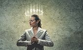 Image of businesswoman with halo above head poster